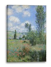 Lein-Wand-Bild Kunstdruck: Claude Monet - Aussicht von Vétheuil (1880)- Impressi
