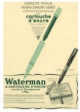 """Publicité Ancienne"""" Cartouche encre Waterman  1938  """""""