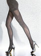 Collant sexy fantaisie femme opaque gris mélangé 40 Den FIORE Fernanda T2 T3 T4