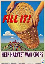 2W73 Vintage WWII Help Harvest War Crops Wartime Farming Poster WW2 A4