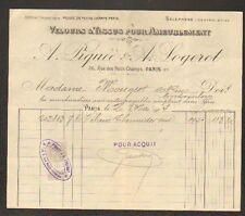 """PARIS (II°) TISSUS & VELOURS pour AMEUBLEMENT """"A. PIQUEE & A. LOGEROT"""" en 1914"""