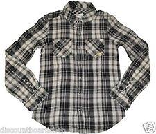Billabong REUVEN Black Gray Front Snap Buttons Pockets Plaid Junior's L/S Shirt