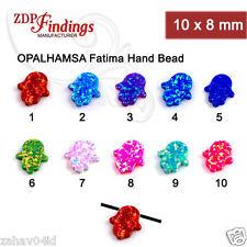10x8mm OPAL HAMSA Fatima Hand Bead Charm Pendant multi color - Jewelry Making