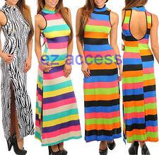 Womens Dress High Turtle NecK Cutout Tank Striped Long Maxi Summer Sun Dresses