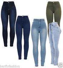 Nouveau femme taille haute noir bleu kaki stretch coupe skinny tube crayon denim jean