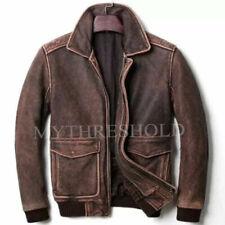 Mens vintage brown aviator A2 pilot leather jacket