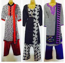Indian Evening Long asiatique Pakistanais Shalwar Kameez Wear Suit Bleu 38 40 48 50 54