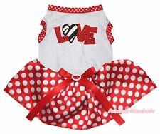 Valentine Zebra Love White Top Red Minnie Dots Tutu Pet Dog Dress Puppy Clothes