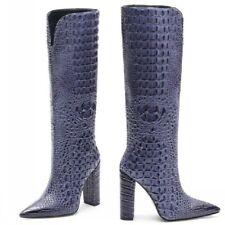 Luxury Block High Heel Pointed Toe Women Mid Calf Boots Alligator Print 43/44/45