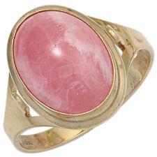 Anillo Mujer con Auténtica rodocrosita rosa ovalo , 585 oro amarillo de