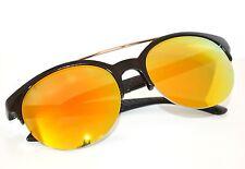 Occhiali da sole uomo neri lenti gialle rotonde man sunglasses gafas de sol Z5