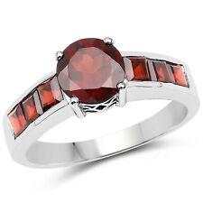 925 Sterling Silver 2.68 ct Genuine Garnet Gemstone Square Cut Wedding Ring