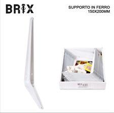SUPPORTO STAFFA PER MENSOLA IN FERRO BIANCO 150X 200 MM ESPOSITORE SCAFFALE