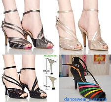 Damen Latein Tango Ballsaal Salsa Tanzschuhe Dance Shoes Heeled Sandalette 34-42