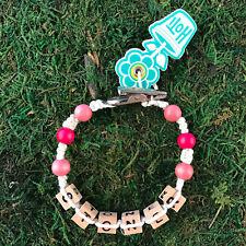 HOTI Hemp Handmade Stoner White Hot Pink Roach Clip Bracelet Wood Bead Cannabis