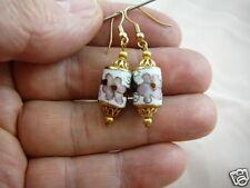 (EE604-260) 12 x 15 mm White pink flower  CLOISONNE bead dangle drum EARRINGS