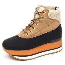 E4442 sneaker donna beige/black HOGAN H328 scarpe inside eco fur boot shoe woman