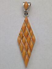 Sterling Silver Handmade Inlay Rhombus or Kite Shaped Pendant