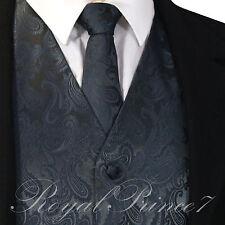 CHARCOAL XS to 6XL Paisley Tuxedo Suit Dress Vest Waistcoat & Neck tie wedding
