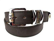 Hombres Alta Calidad Marrón Cinturón de cuero Diseñado Plata Hebilla de Milano