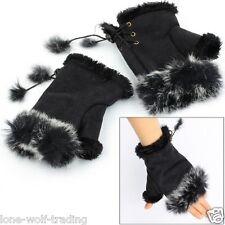 Ladies Fingerless Fur Hand Warmer Gloves