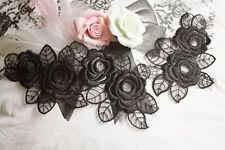 Rose Wedding Motif Embroidery Lace Applique Trim Bridal Organza Applique 1 Pair