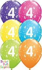 4th Birthday Party Supplies Star Age 1x28cm Balloon Decoration Pink Purple Blue