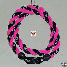 Phiten Tornado Necklace: Black/Hot Pink Custom