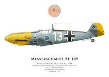 Print Messerschmitt Bf 109E-3, Heinz Bär, JG 51, Battle of Britain (by G. Marie)