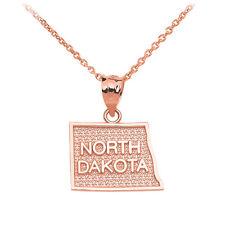 10k Rose Gold North Dakota State Map United States Pendant Necklace