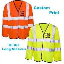 Personalized Yellow Orange Hi Vis Visibility Viz Long Sleeve Velcro Safety Vest