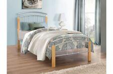 3FT 4FT 4FT6 5FT Modern Design Steel Bed Frame Wood Bed Posts Mattress Options