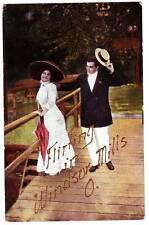Early WINDSOR MILLS Ohio Postcard Flirting Ashtabula