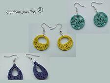wooden earings yellow blue purple drop circle openwork