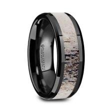 Tres Beveled Black Ceramic Polished Mens Wedding Band Ombre Antler Inlay