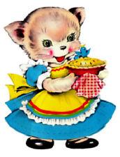 Vintage Image Retro Kitchen Baking Kitten Large Furniture Transfers Decals An840