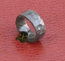 Full Damascus Steel Flat Geometric Men's Engagement 9mm Wide Band