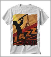 T-SHIRT UOMO DONNA TSHIRT JAZZ BLUES PARIGI MUSICA MUSIC SAX GLAMOUR GEN0318