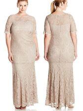 Xscape Plus Size Light Taupe Short Slv Long Stretch Lace Formal Dress, 22W $239