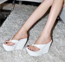 US4-11 Womens Open Toe Wedge Heel Platform Slippers Sandals Flip-flops Shoes Sz