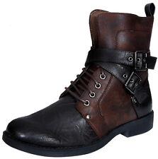 Mens Punk Rock Goth Elmo Ankle Boots Brown Zip Biker Leather Buckle