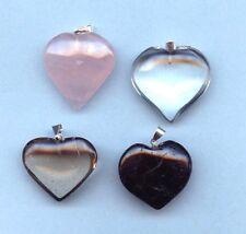 "Gemstone Heart Pendant 1"" - Rose/Clear/Smoky Quartz  Black Tourmaline"