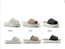 New Open Toe Faux Pearl Slide Sandal Mules Mid Low Platform Wedge Heel Lug Sole