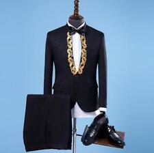 Mens Tuxedo Stand Collar 2pcs Suit Blazer Coat Slim Fit Jacket Party Dress Pant