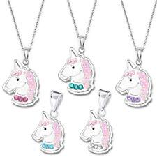 Anhänger + Halskette Kristall Einhorn Glitzer 925 er Silber Pferd Kinder Mädchen