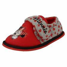 Disney Girls Minnie Mouse Red/Grey Boarder Slipper