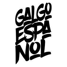 Auto Aufkleber Font GALGO ESPANOL Schrift Hunde Hund SIVIWONDER Style