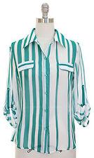 Women  long sleeve top Green Teal chiffon thin Stripes blouse S M L XL