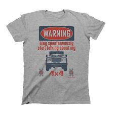 Mens Car T-Shirt WARNING May Spontaneously Talk About 4x4 Land Rover Defender