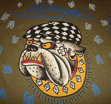NWT ED HARDY Christian Audigier Graphic LA BULLDOG T Shirt Olive Asian Print NEW